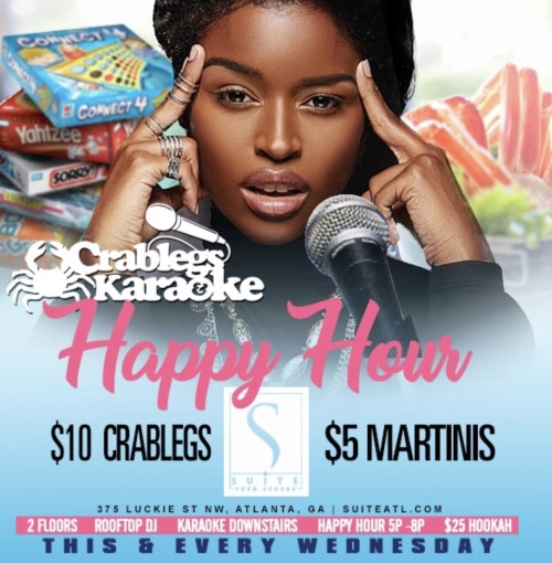 Crablegs and Karaoke Happy Hour