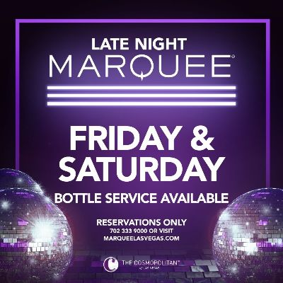 MARQUEE LATE NIGHT, Saturday, March 20th, 2021
