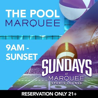 MARQUEE POOL - SPORTS LOUNGE, Sunday, October 11th, 2020