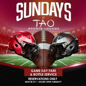 TAO SPORTS LOUNGE, Sunday, October 25th, 2020