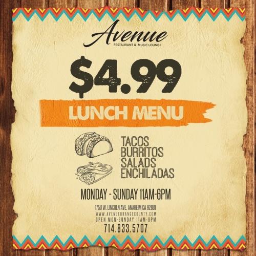 $4.99 Lunch Specials - Avenue Restaurant & Music Lounge