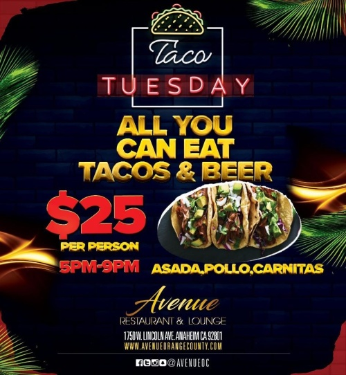 All You Can Eat Taco Tuesday - Avenue Restaurant & Music Lounge