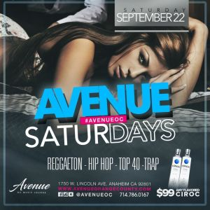 Avenue Saturday, Saturday, September 22nd, 2018