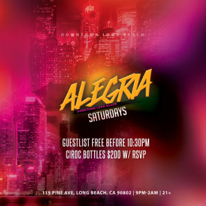 Alegria Saturday, Saturday, February 2nd, 2019
