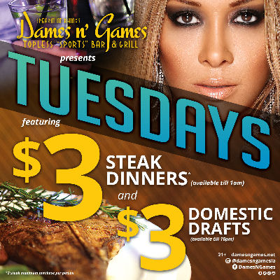 $3 Steak Tuesdays, Tuesday, October 16th, 2018