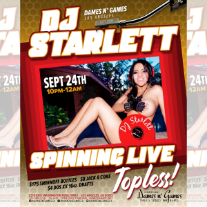 DJ STARLETT, Monday, September 24th, 2018