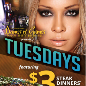 $3 Steaks Tuesdays, Tuesday, March 5th, 2019