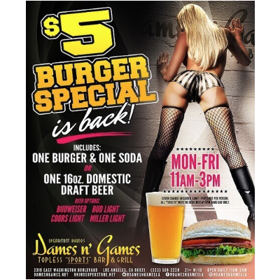 $5 Burger Special, Wednesday, January 23rd, 2019