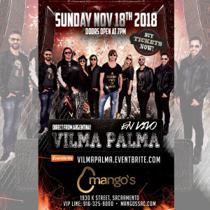 Vilma Palma LIVE, Sunday, November 18th, 2018