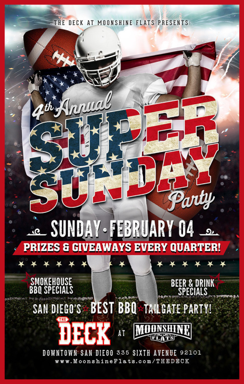 4th Annual Super Sunday Party at The Deck - Moonshine Flats