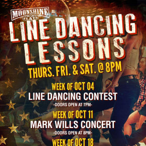 Line Dancing Lessons at Moonshine Flats, Thursday, October 25th, 2018