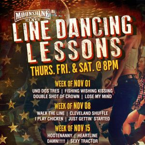 Line Dancing Lessons at Moonshine Flats, Thursday, November 29th, 2018