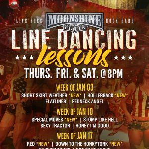 Line Dancing Lessons at Moonshine Flats, Thursday, January 24th, 2019