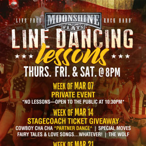 Line Dancing Lessons at Moonshine Flats, Thursday, April 11th, 2019