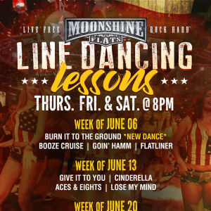 Line Dancing Lessons at Moonshine Flats, Thursday, August 29th, 2019
