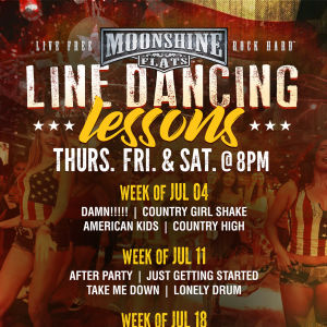 Line Dancing Lessons at Moonshine Flats, Thursday, July 18th, 2019