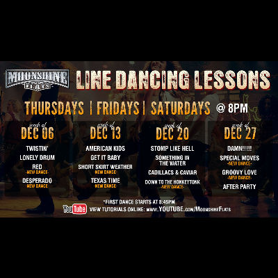 Line Dancing Lessons at Moonshine Flats, Thursday, December 20th, 2018