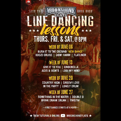 Line Dancing Lessons at Moonshine Flats, Thursday, June 27th, 2019