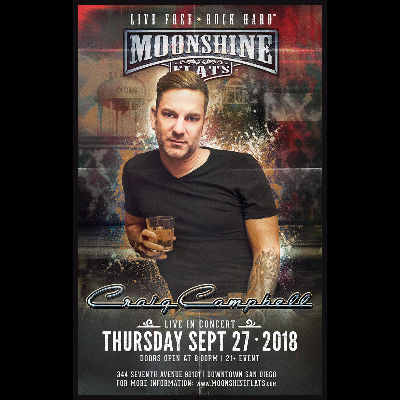 Craig Campbell LIVE in Concert at Moonshine Flats, Thursday, September 27th, 2018
