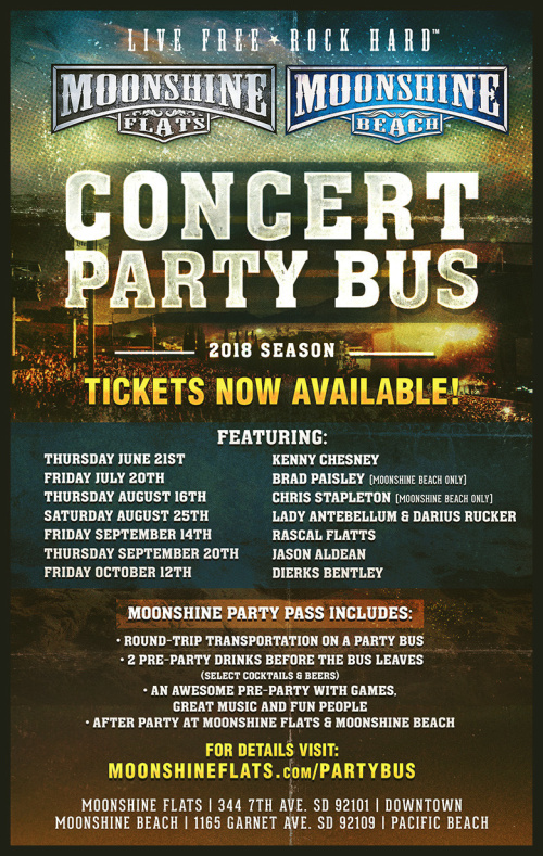 Moonshine FLATS- Party Bus to Lady Antebellum & Darius Rucker with Russell Dickerson - Moonshine Flats