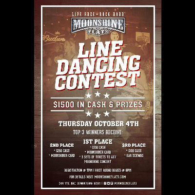 Line Dancing Contest at Moonshine Flats, Thursday, October 4th, 2018