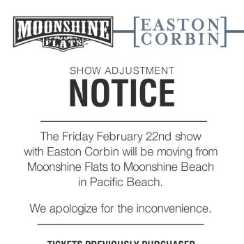 SHOW MOVED to Moonshine Beach! Easton Corbin LIVE in Concert