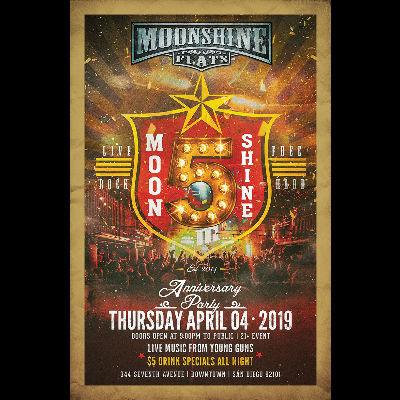 5th Anniversary Party at Moonshine Flats, Thursday, April 4th, 2019