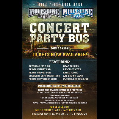 Party Bus to Chris Young with Chris Janson from Moonshine FLATS, Friday, August 9th, 2019