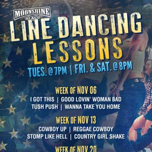 Line Dancing Lessons at Moonshine Beach, Tuesday, November 13th, 2018