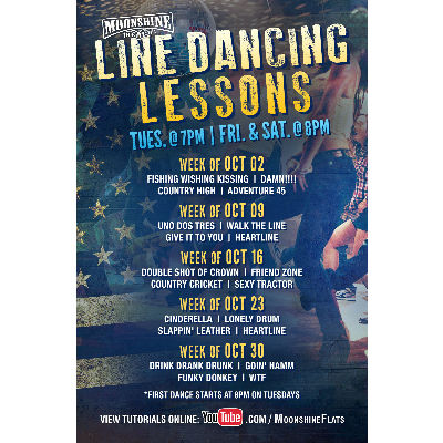 Line Dancing Lessons at Moonshine Beach, Tuesday, October 23rd, 2018
