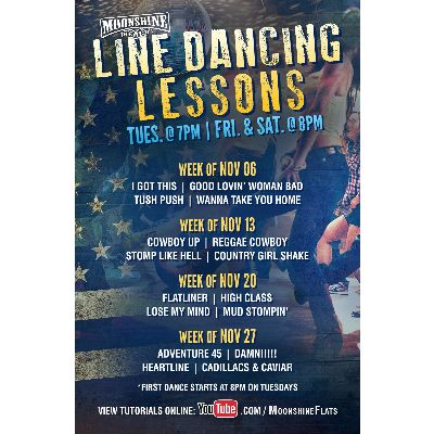 Line Dancing Lessons at Moonshine Beach, Tuesday, November 20th, 2018