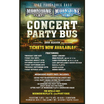 Moonshine BEACH- Party Bus to Jason Aldean with Luke Combs and Lauren Alaina, Thursday, September 20th, 2018