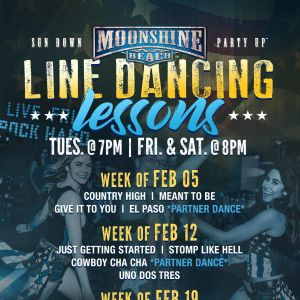 Line Dancing Lessons at Moonshine Beach, Tuesday, February 19th, 2019