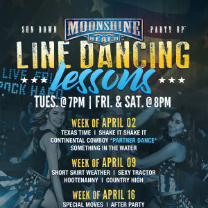 Line Dancing Lessons at Moonshine Beach, Tuesday, April 30th, 2019