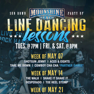 Line Dancing Lessons at Moonshine Beach, Tuesday, May 21st, 2019
