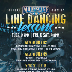 Line Dancing Lessons at Moonshine Beach, Tuesday, July 16th, 2019