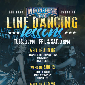 Taco Tuesday and Line Dancing Lessons at Moonshine Beach, Tuesday, August 20th, 2019