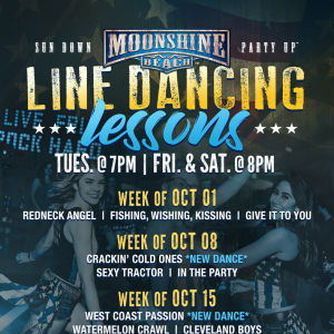 Taco Tuesday and Line Dancing Lessons at Moonshine Beach, Tuesday, October 15th, 2019