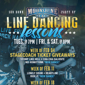 Taco Tuesday and Line Dancing Lessons at Moonshine Beach, Tuesday, February 25th, 2020