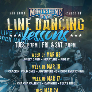 Taco Tuesday and Line Dancing Lessons at Moonshine Beach, Tuesday, August 4th, 2020