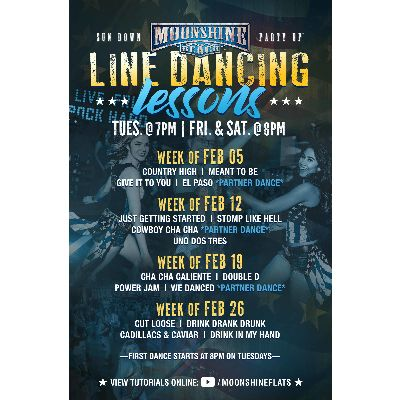 Line Dancing Lessons at Moonshine Beach, Tuesday, February 26th, 2019