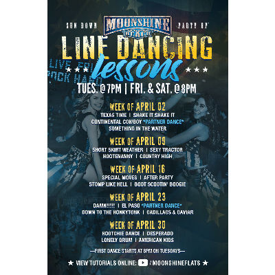 Line Dancing Lessons at Moonshine Beach, Tuesday, May 7th, 2019