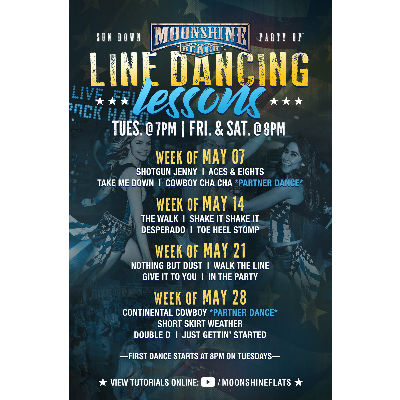 Line Dancing Lessons at Moonshine Beach, Tuesday, May 28th, 2019