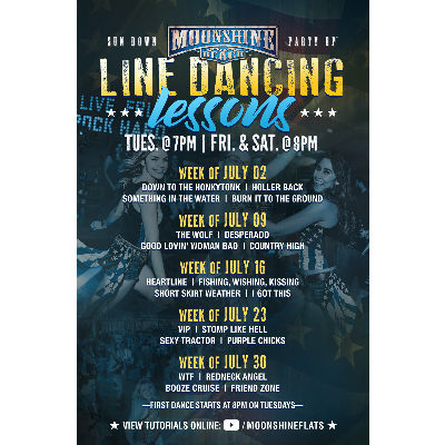 Line Dancing Lessons at Moonshine Beach, Tuesday, July 23rd, 2019