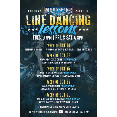 Taco Tuesday and Line Dancing Lessons at Moonshine Beach, Tuesday, October 22nd, 2019