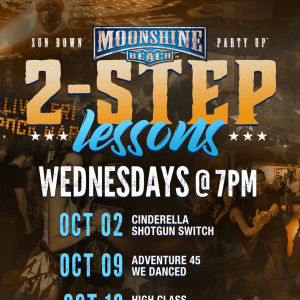 Wild Country Wednesdays and 2-Step Lessons at Moonshine Beach, Wednesday, October 23rd, 2019