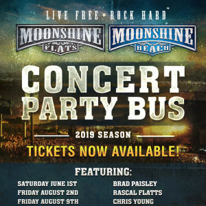 Party Bus to Brad Paisley, Chris Lane and Riley Green from Moonshine BEACH, Saturday, June 1st, 2019