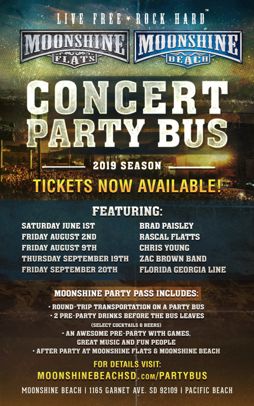 Party Bus to Brad Paisley, Chris Lane and Riley Green from Moonshine BEACH - Moonshine Beach