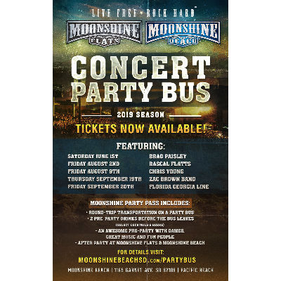 Party Bus to Rascal Flatts from Moonshine BEACH, Friday, August 2nd, 2019