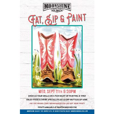 Eat, Sip & Paint Night at Moonshine Beach, Wednesday, September 11th, 2019